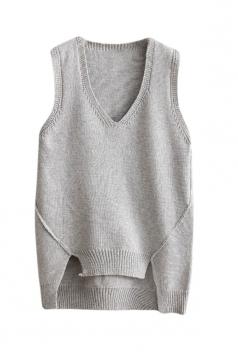 Womens V-neck High Low Plain Pullover Sweater Vest Light Gray