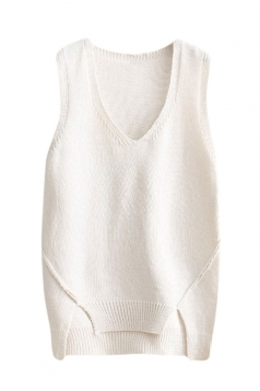 Womens V-neck High Low Plain Pullover Sweater Vest White