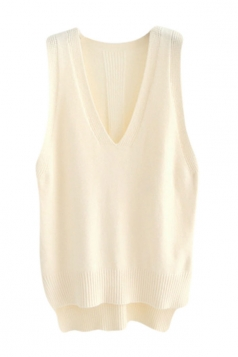 Womens High Low Side Slit V-neck Pullover Sweater Vest Beige White