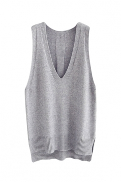 Womens High Low Side Slit V-neck Pullover Sweater Vest Light Gray