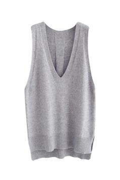 Womens High Low Side Slit V-neck Pullover Sweater Vest Light Gray