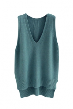 Womens High Low Side Slit V-neck Pullover Sweater Vest Turquoise