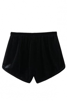 Womens Velvet Elastic Waist Plain Mini Shorts Black
