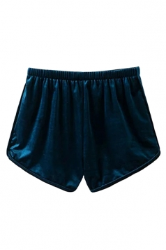 Womens Velvet Elastic Waist Plain Mini Shorts Dark Green