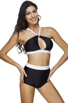 Womens Color Block Cut Out Bikini Top&High Waist Swimsuit Bottom Black