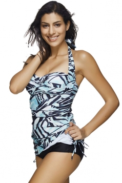 Womens Halter Drawstring Sides Printed 2pcs Tankini Suit Blue