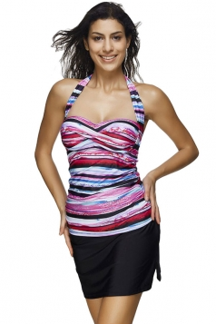 Womens Halter Color Block Striped Printed 2pcs Tankini Suit Rose Red