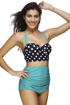 Womens Polka Dot Draped High Waist Bikini Suit Turquoise