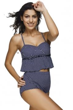 Womens Polka Dot Ruffled High Waist 2PCS Tankini Set Navy Blue