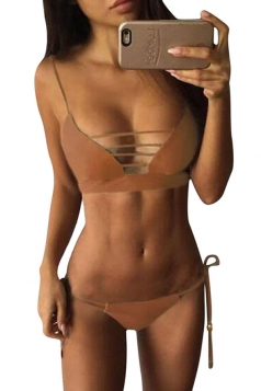 Womens Lace-up Halter Double-string 2PCS Plain Bikini Suit Coffee