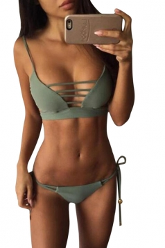 Womens Lace-up Halter Double-string 2PCS Plain Bikini Suit Green