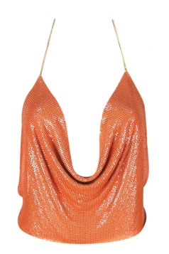 Womens Chain Halter Plunging Neck Backless Sequined Crop Top Tangerine