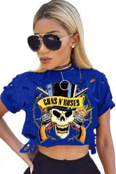 Womens Ripped Guns Skull Printed Short Sleeve Crop Top Sapphire Blue