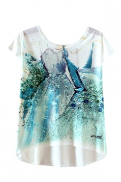 Womens High Low Dress Printed Short Sleeve T Shirt Turquoise