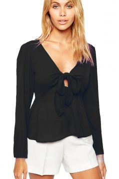 Womens Chiffon Bow V-neck Long Sleeve Plain Blouse Black