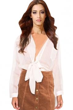 Womens Sheer Bow Lace-up Long Sleeve Chiffon Blouse White