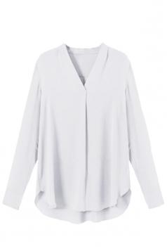 Womens Chiffon V Neck Long Sleeve Plain High Low Blouse White