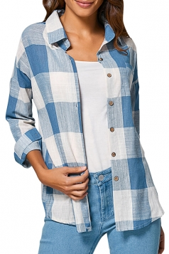 Womens Turndown Collar Plaid Long Sleeve Blouse Light Blue