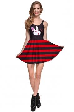 Womens Sleeveless Slimming Striped Rabbit Printed Skater Dress Black