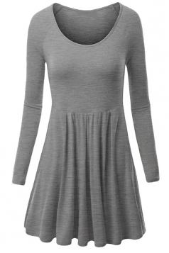 Womens Crewneck Ruched Long Sleeve Plain Skater Dress Light Gray