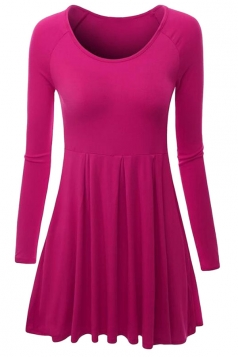 Womens Crewneck Ruched Long Sleeve Plain Skater Dress Rose Red