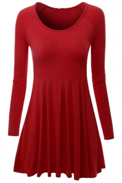 Womens Crewneck Ruched Long Sleeve Plain Skater Dress Red