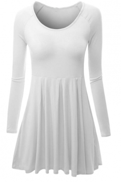 Womens Crewneck Ruched Long Sleeve Plain Skater Dress White
