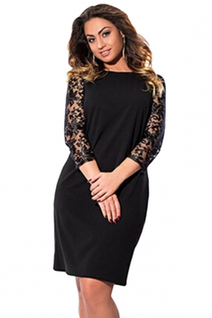 Womens Plus Size Lace Patchwork Sleeve Plain Midi Dress Black