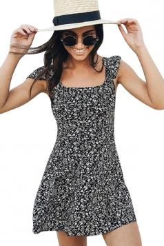 Womens Square Neck Floral Printed Lace-up Back Skater Dress Black