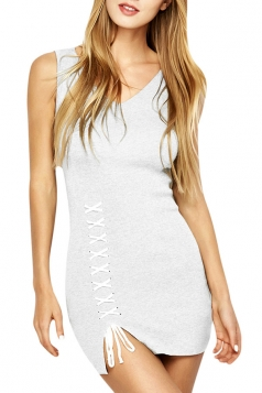 Womens V-neck Lace-up Backless Side Slit Plain Tank Dress White