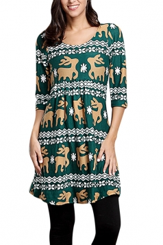 Womens Crewneck Reindeer Print 3/4 Length Sleeve Christmas Dress Green