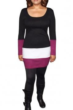 Womens Round Neck Color Block Long Sleeve Dress Black