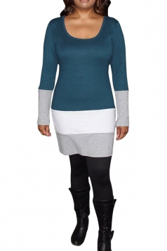 Womens Round Neck Color Block Long Sleeve Dress Turquoise