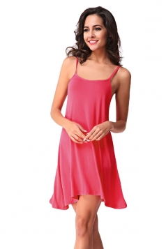 Womens Spaghetti Straps Plain Backless Smock Dress Watermelon Red