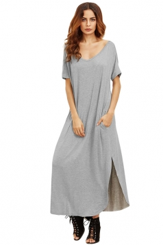 Womens Loose Sides Slit Short Sleeve Plain Maxi Dress Gray