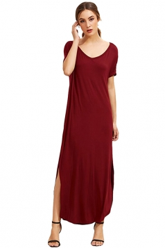 Womens Loose Sides Slit Short Sleeve Plain Maxi Dress Ruby