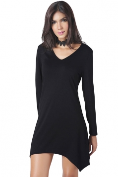 Womens V-neck Irregular Hem Long Sleeve Plain Dress Black