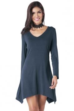 Womens V-neck Irregular Hem Long Sleeve Plain Dress Navy Blue
