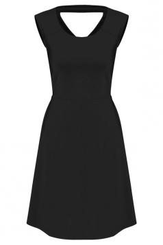Womens Plain Sleeveless Cross Bandage Cutout Back Dress Black