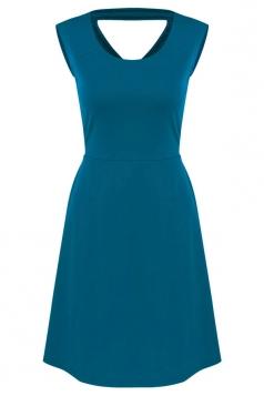 Womens Plain Sleeveless Cross Bandage Cutout Back Dress Turquoise