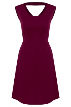 Womens Plain Sleeveless Cross Bandage Cutout Back Dress Ruby