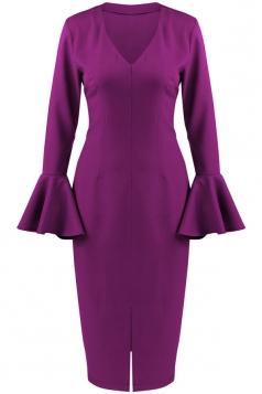 Womens V Neck Ruffled Sleeve Front Slit Plain Long Sleeve Dress Purple