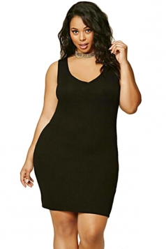 Womens Plus Size V Neck Plain Bodycon Tank Dress Black