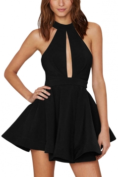 Womens Sheer Halter Strapless Cutout Plain Skater Dress Black