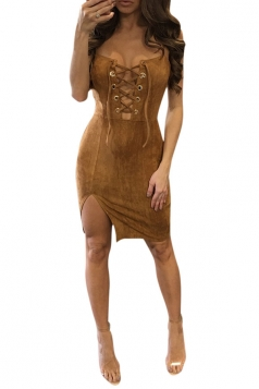 Womens Cross Lace-up Front Side Slit Clubwear Dress Brown