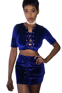 Womens Cross Keyhole Lace-up Short Sleeve Mini Skirt Set Sapphire Blue