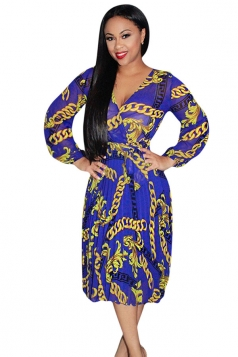 Womens V-neck Long Sleeve Chain Printed Midi Dress Blue