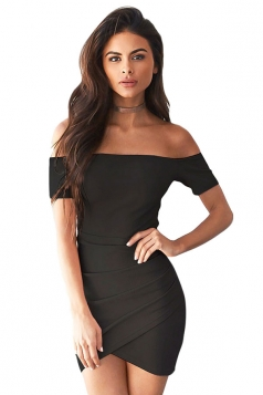 Womens Off Shoulder Ruched Plain Mini Clubwear Dress Black