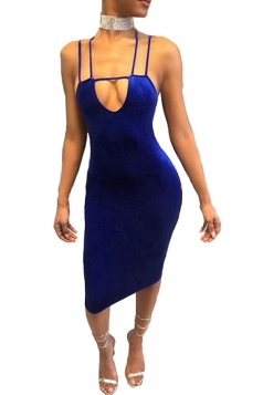 Womens Strappy Cut Out Backless Midi Clubwear Dress Blue