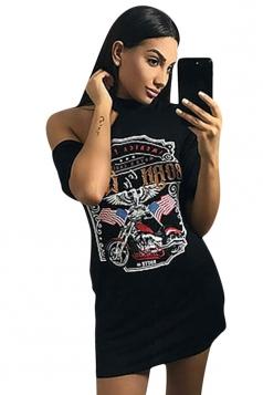 Womens Crewneck Short Sleeve Motorbike Printed Mini Shirt Dress Black